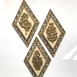 American Vintage Wall Art - Vintage Syrocowood 3pc Gold Rhombus Wall Decor